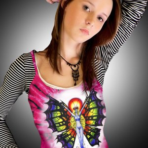 Butterfly Lady Tank Top - Women's pink tie dye, 100% cotton sleeveless tank top.