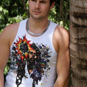 Rasta Mon Inspired by Bob Marley Tank Top - Men's white, 100% cotton sleeveless tank top.