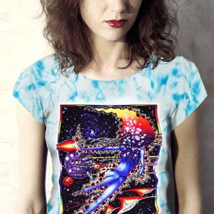 Space Maiden T-shirt - Women's blue crystallized, 100% cotton crew neck cut, short sleeve tee.