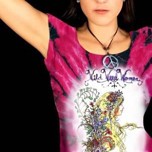 Wild Weed Women T-shirt - Women's pink tie dye, 100% cotton crew neck cut, short sleeve tee.
