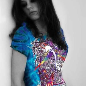 Led Zeppelin Inspired T-shirts - Wings - Women's purple tie dye, 100% cotton crew neck cut, short sleeve tee.