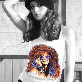 Bluesy Mama – Women's white tank top inspired by Janis Joplin