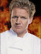Gordon Ramsay superimposed atop fire