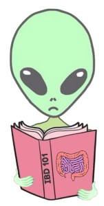 "An alien reading a book titled ""IBD 101"""