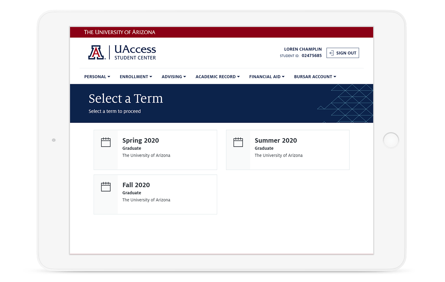 University of Arizona PeopleSoft Student Schedule