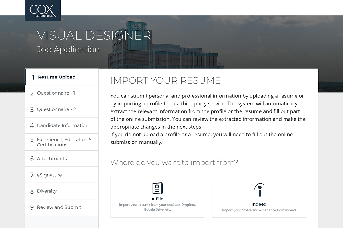 Modernized Taleo candidate experience for Cox
