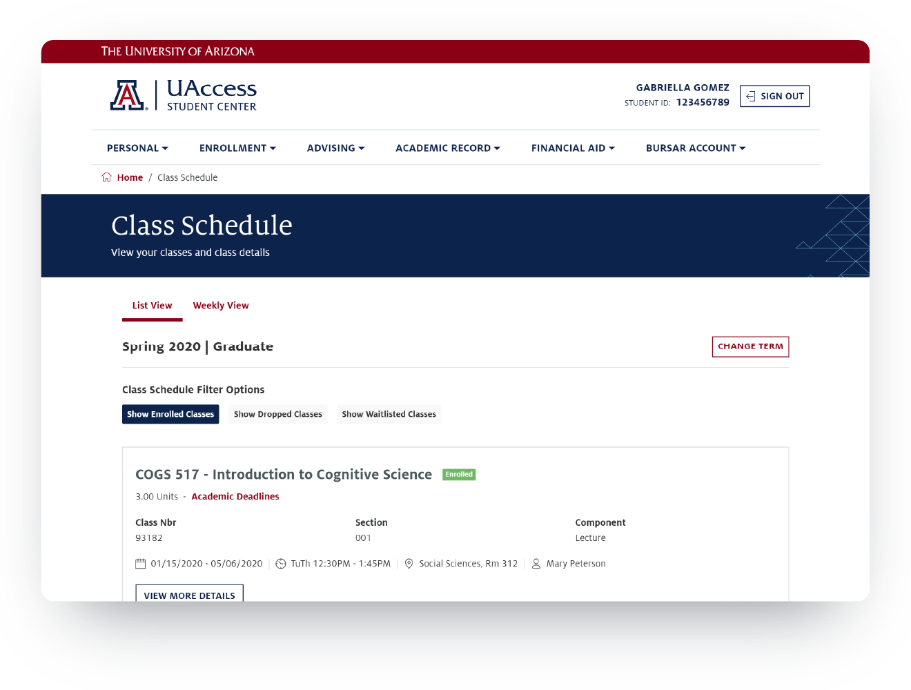 University of Arizona PeopleSoft Mobile Student Portal Images