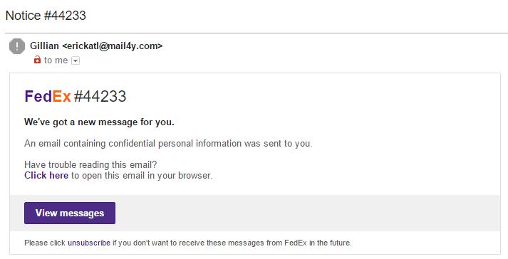 FedEx Phishing Email Example