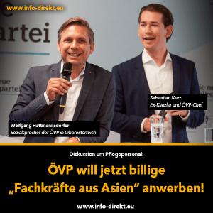 """Info-DIREKT-Grafik: """"ÖVP will jetzt billige """"Fachkräfte aus Asien"""" anwerben!"""