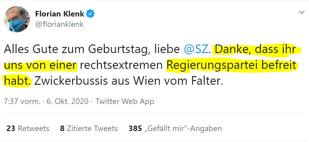 Klenk bedankt sich bei der Süddeutschen Zeitung für Putsch