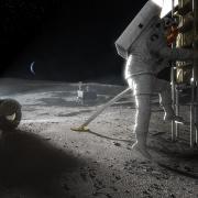 Fotografía cedida por la NASA de una recreación artística de un astronauta del programa Artemis mientras pisa la luna durante un viaje espacial. EFE/NASA