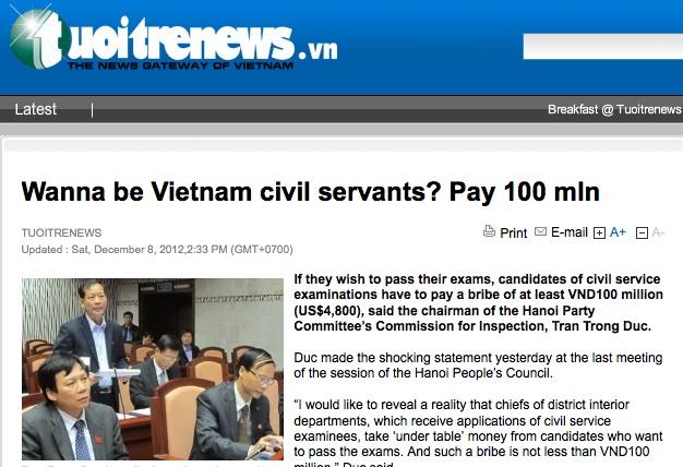 Vietnam : Camarade, Si Tu Veux être Fonctionnaire, Paie D'abord