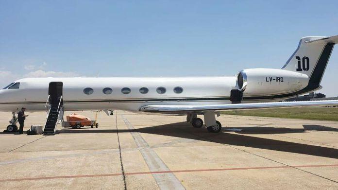 El avión privado de Lionel Messi que alquiló Presidencia de la Nación para la gira de Alberto Fernández a Mexico.