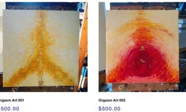 Sus abstracciones de orgasmos son vendidas en $500, pero también enseña a pintar y en OnlyFans sube contenido explícito con su esposo Foto: (hannahsanfordart.com)