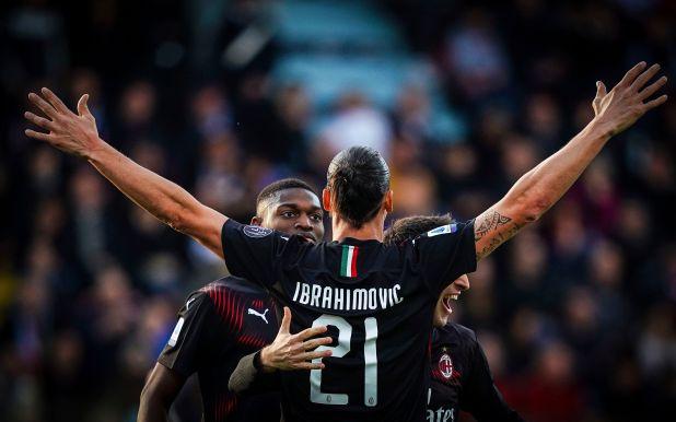 Zlatan marcó su primer gol en su debut como titular en el Milan (Spada(/LaPresse via AP)