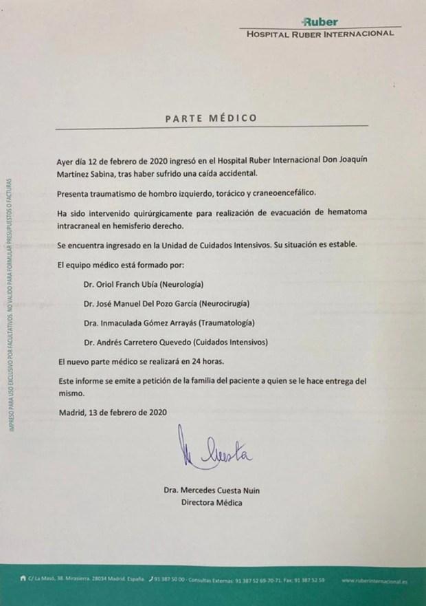 El primer parte médico Joaquín Sabina