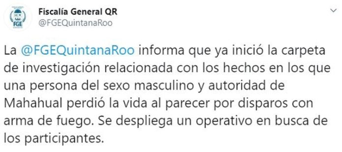 The FGE is already investigating the motive for the murder (Photo: Twitter / FGEQuintanaRoo)