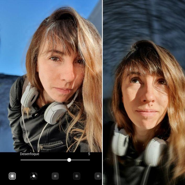 Tanto con la cámara trasera como con la frontal se pueden elegir entre diferentes efectos: desenfoque, giros, un objeto o persona en color y el resto en blanco y negro, etc. Además, una vez que se hizo la foto, se puede editar y cambiar el efecto elegido inicialmente.