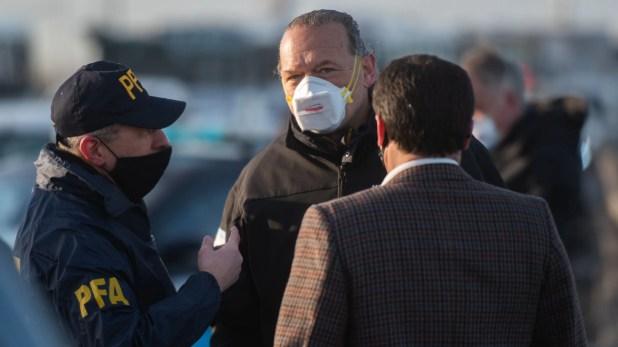 Sergio Berni en el control de transito de puente La Noria