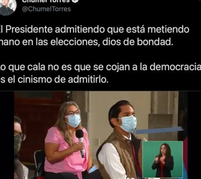 AMLO aceptó que intervino en el proceso electoral de Nuevo León (Foto: captura de pantalla de Twitter @ChumelTorres).