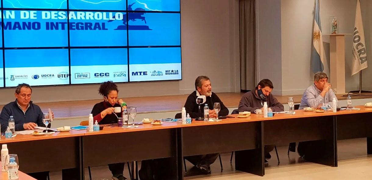 Los sindicalistas Gerardo Martínez, Pablo Moyano y Sergio Sasia se unieron a Juan Grabois y otros dirigentes sociales para lanzar el Plan de Desarrollo Integral
