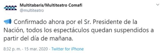 Tuit de Carlos Rottemberg anunciando la suspensión de los espectáculos teatrales.