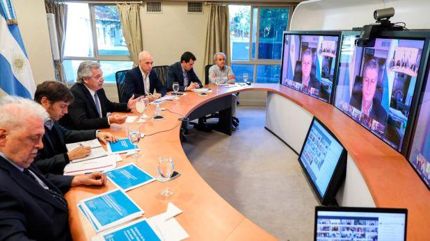 Alberto Fernández en la anterior teleconferencia con gobernadores (Presidencia)