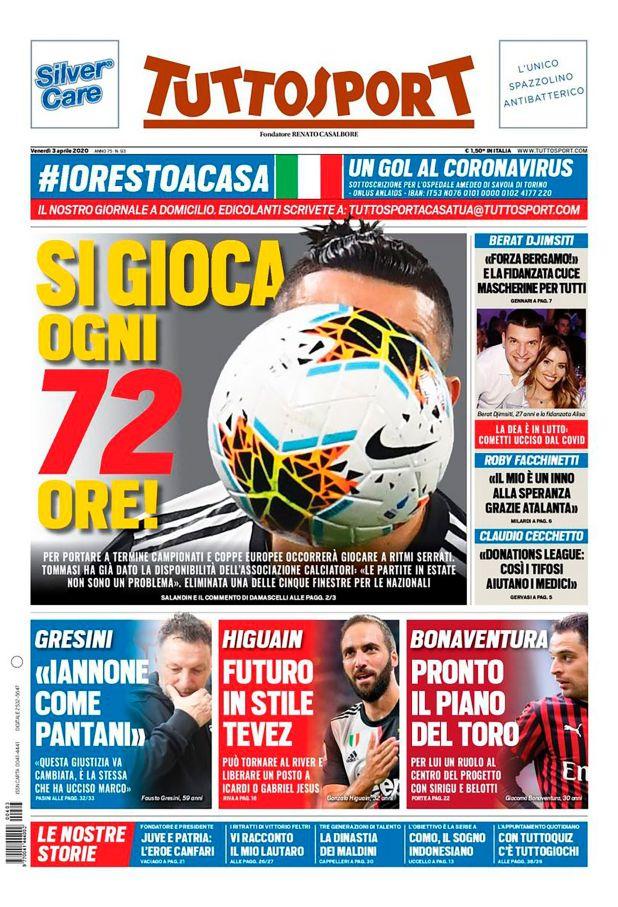 La tapa de Tutto Sport hablando de un posible regreso de Higuaín