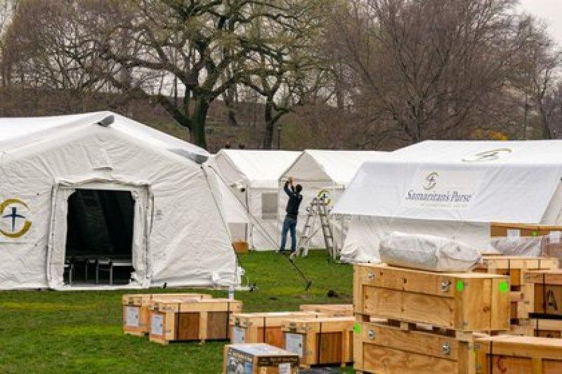 Monday photo of a field hospital set up by the humanitarian aid organization Samaritan's Purse in New York's Central Park.  Mar 30, 2020. REUTERS / David 'Dee' Delgado
