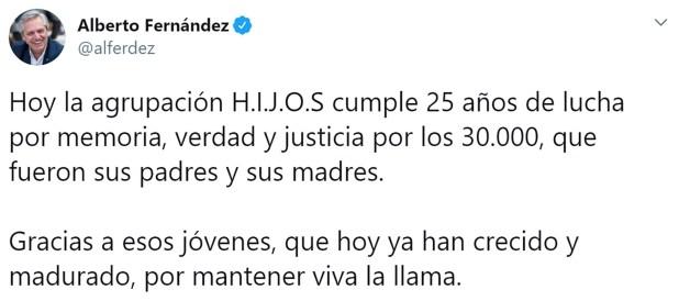 El mensaje de Alberto Fernández por los 25 años de la agrupación H.I.J.O.S