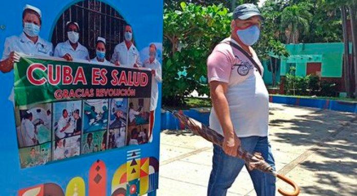 Un hombre con tapabocas camina en una calle en La Habana (Cuba). EFE/Ernesto Mastrascusa/Archivo