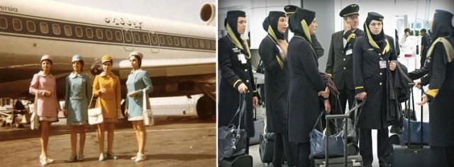 Los trajes de las azafatasen Irán, antes y después de la revolución de 1979