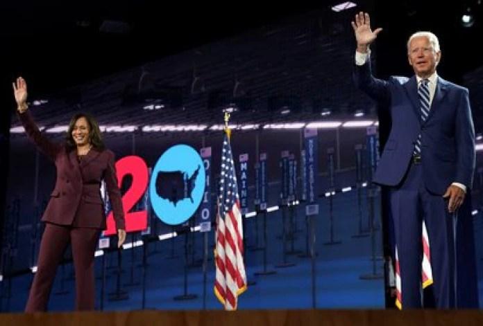 Kamala Harris, que será la primera mujer vicepresidente de Estados Unidos, junto a Joe Biden, en el acto en que fue presentada la fórmula demócrata
