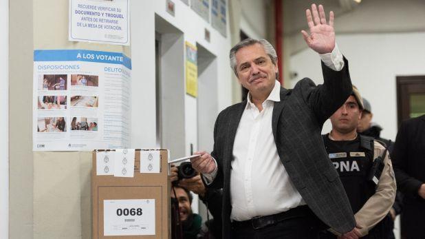 Alberto Fernández votando en las PASO 2019
