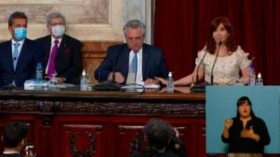 Alberto Fernández, Cristina Kirchner y un fuerte gesto en la Asamblea Legislativa