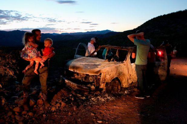 Escena de la masacre de la familia LeBaron, en el límite entre Chihuahua y Sonora (The New York Times)
