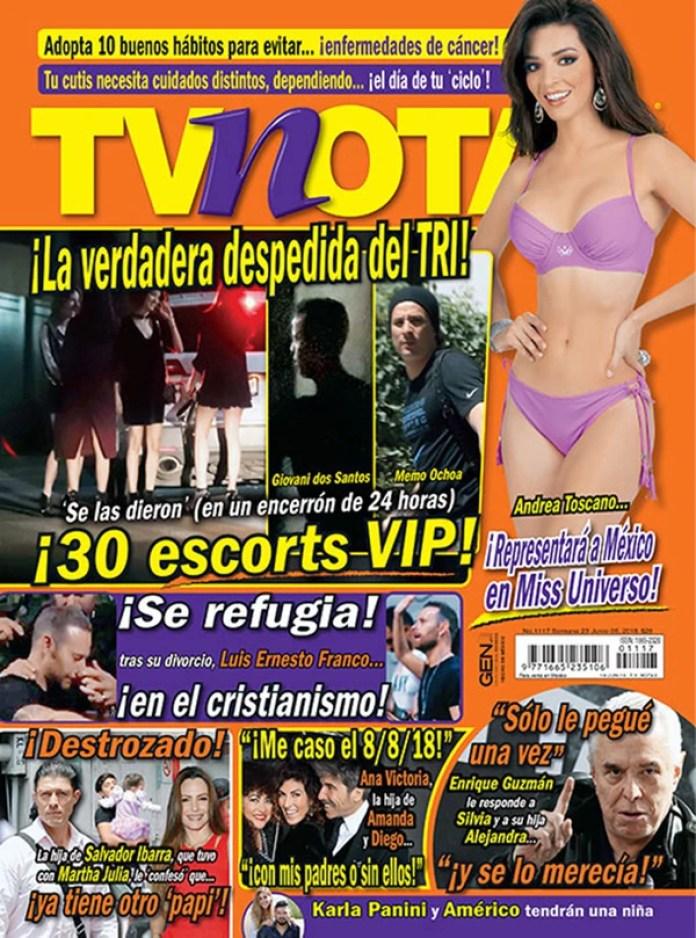 La tapa de TV Notas, la revista que denuncia la fiesta de los jugadores del Tri