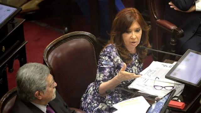 Cristina Kirchner durante su discurso en el Senado