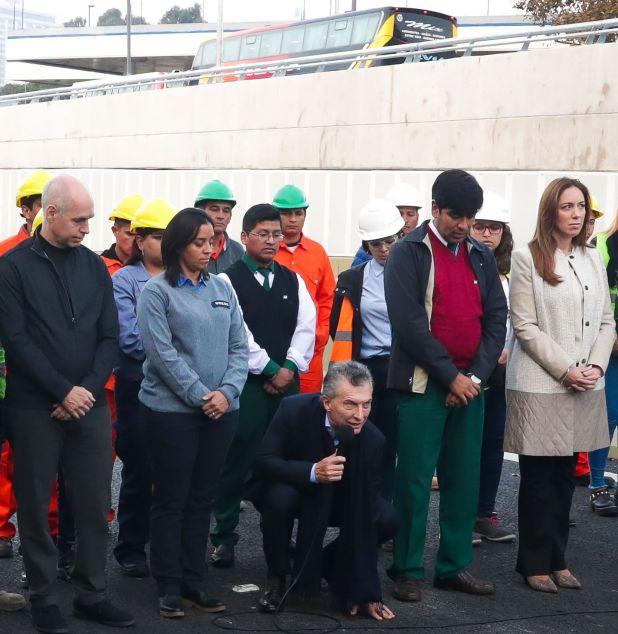 Mauricio Macri durante la inauguración del Paseo del Bajo