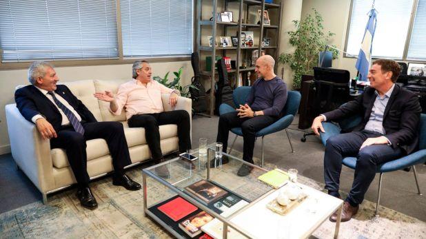 Claudio Ferreño, Alberto Fernández, Horacio Rodríguez Larreta y Diego Santilli