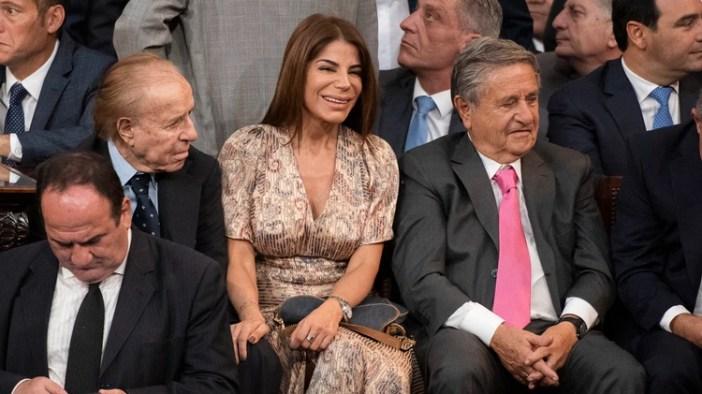 Carlos Menem, Zulemita Menem y Eduardo Duhalde en la asunción de Alberto Fernández