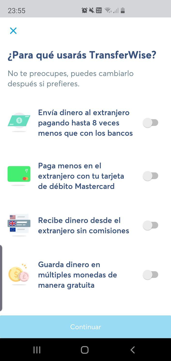 Posibilidades que brinda la app Transferwise