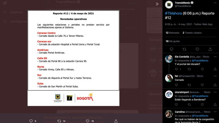 Estaciones de TransMilenio cerradas en la jornada del martes 4 de mayo de 2021 / (Twitter: @TransMilenio).