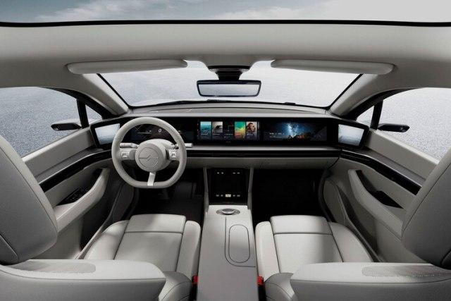El frente del Vision-S, con pantallas táctiles.