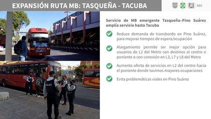 Servicio de Metrobús emergente de Tasqueña a Tacuba (Foto: Captura de pantalla)