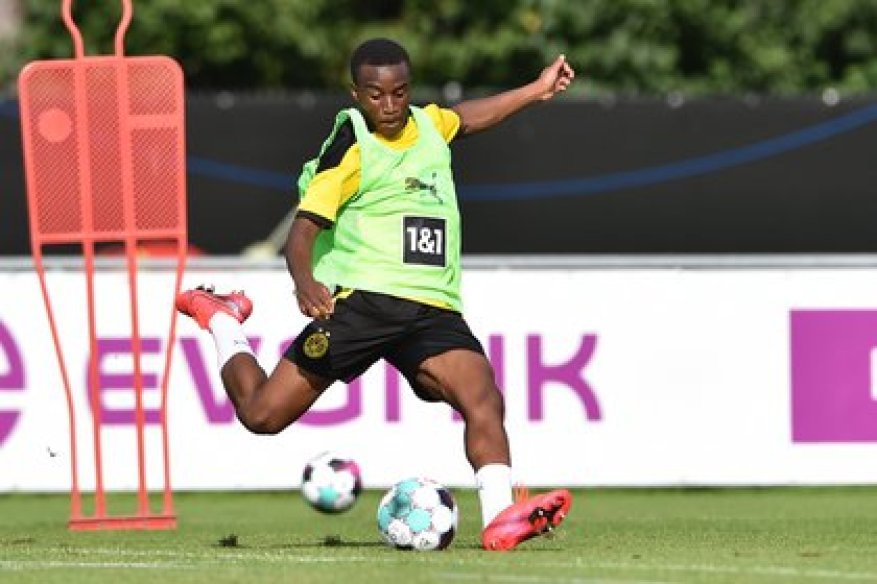 Youssoufa Moukoko started training with the Borussia Dortmund first team in August, at just 15 years old (Shutterstock)