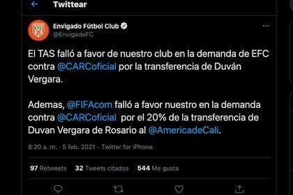 Envigado anunció falló a su favor en demanda contra Rosario central por el 20% de la transferencia de Duván Vergara a América de Cali / (Twitter: @EnvigadoFC).