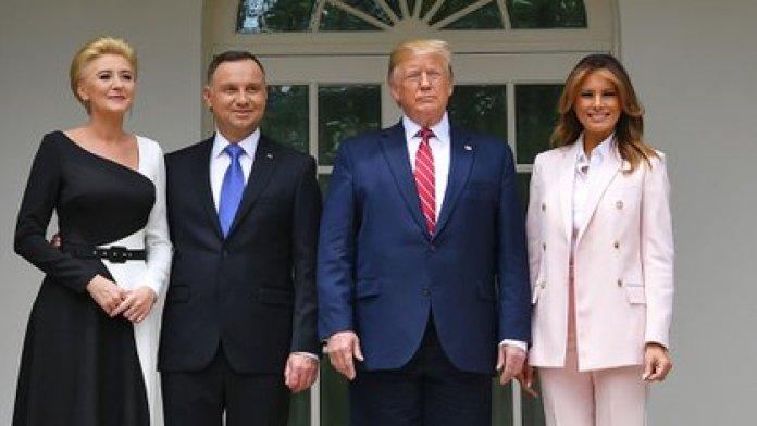 Donald y Melania Trump, y el presidente polaco, Andrzej Duda, y su mujer