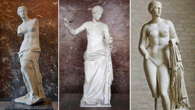 Venus de Milo, Venus de Arlés y Afrodita de Cnido