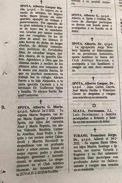 Murió un ex presidente del Club Huracán y su mujer y su amante se cruzaron  en los avisos fúnebres - Infobae